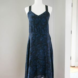 DEREK LAM 10 CROSBY INDIGO HANDKERCHIEF HEM DRESS